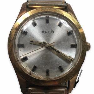 Vintage Mens Benrus Gold Electroplated Wrist Watch
